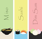 Sushi mini poster set with japanese meal fish and condiments isolated vector illustration.