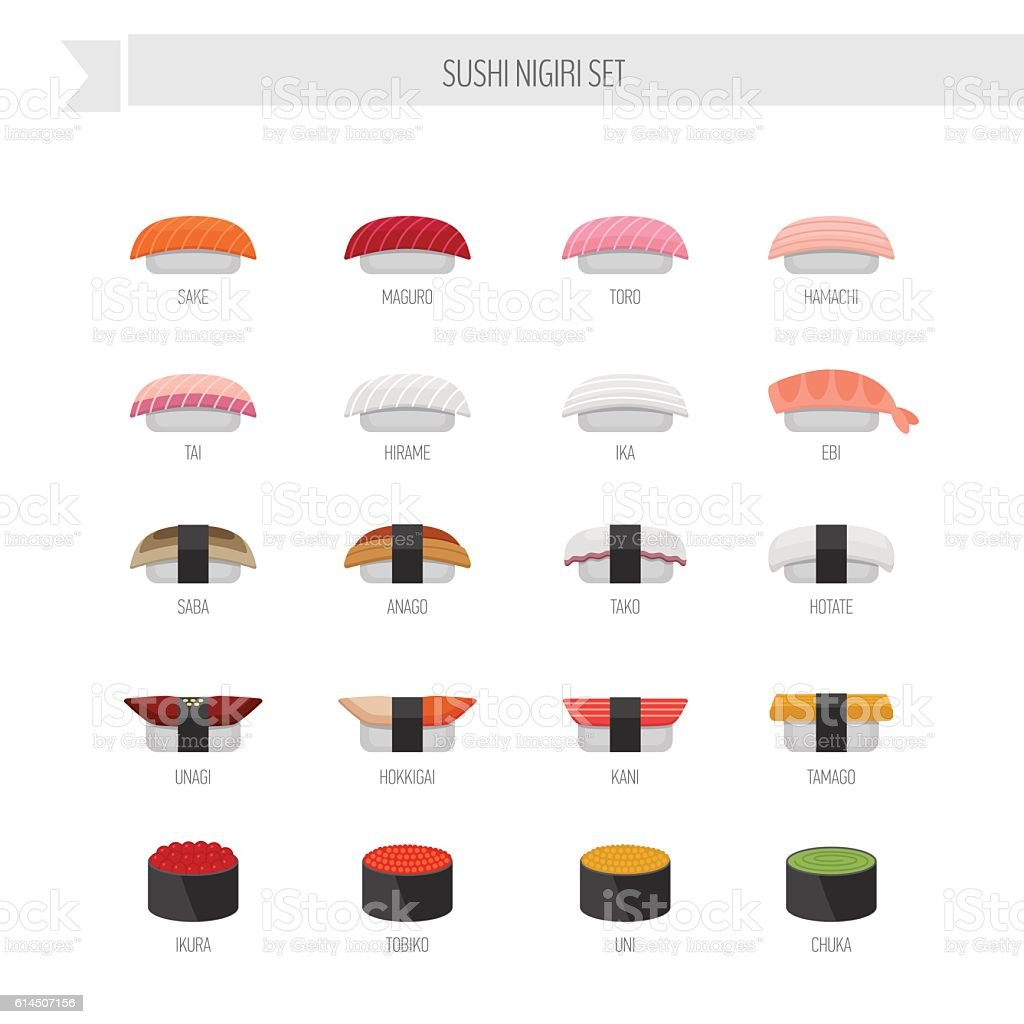 Sushi nigiri vector set. Flat style icon. ベクターアートイラスト