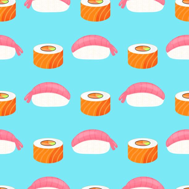 illustrations, cliparts, dessins animés et icônes de nigiri de sushi avec des crevettes, rouler avec du saumon. cuisine traditionnelle japonaise. modèle sans soudure. - sushi