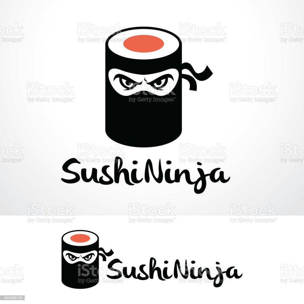 sushi ninja symbol template design vector emblem design concept