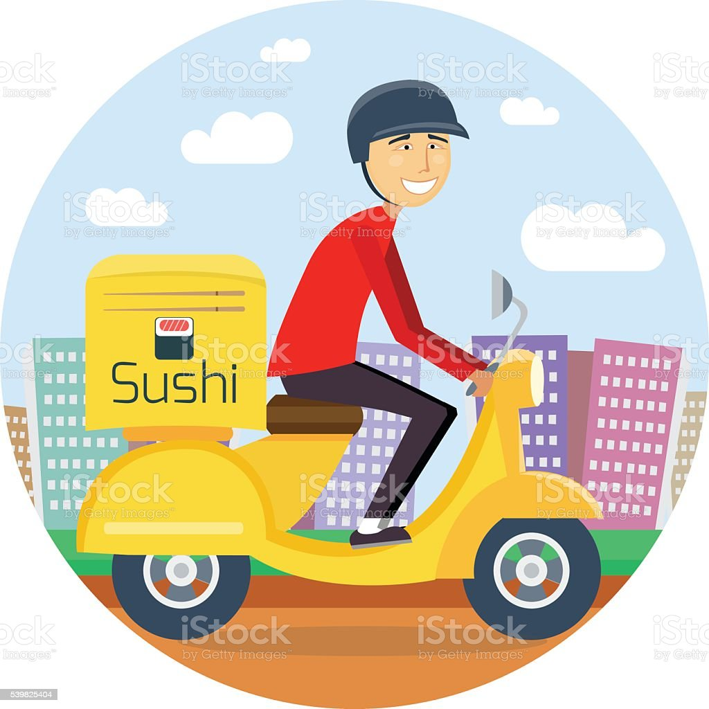Sushi or food delivery concept vector art illustration