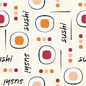 Sushi pattern on light grey background.