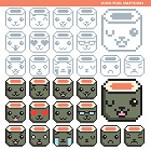 sushi pixel emoticons