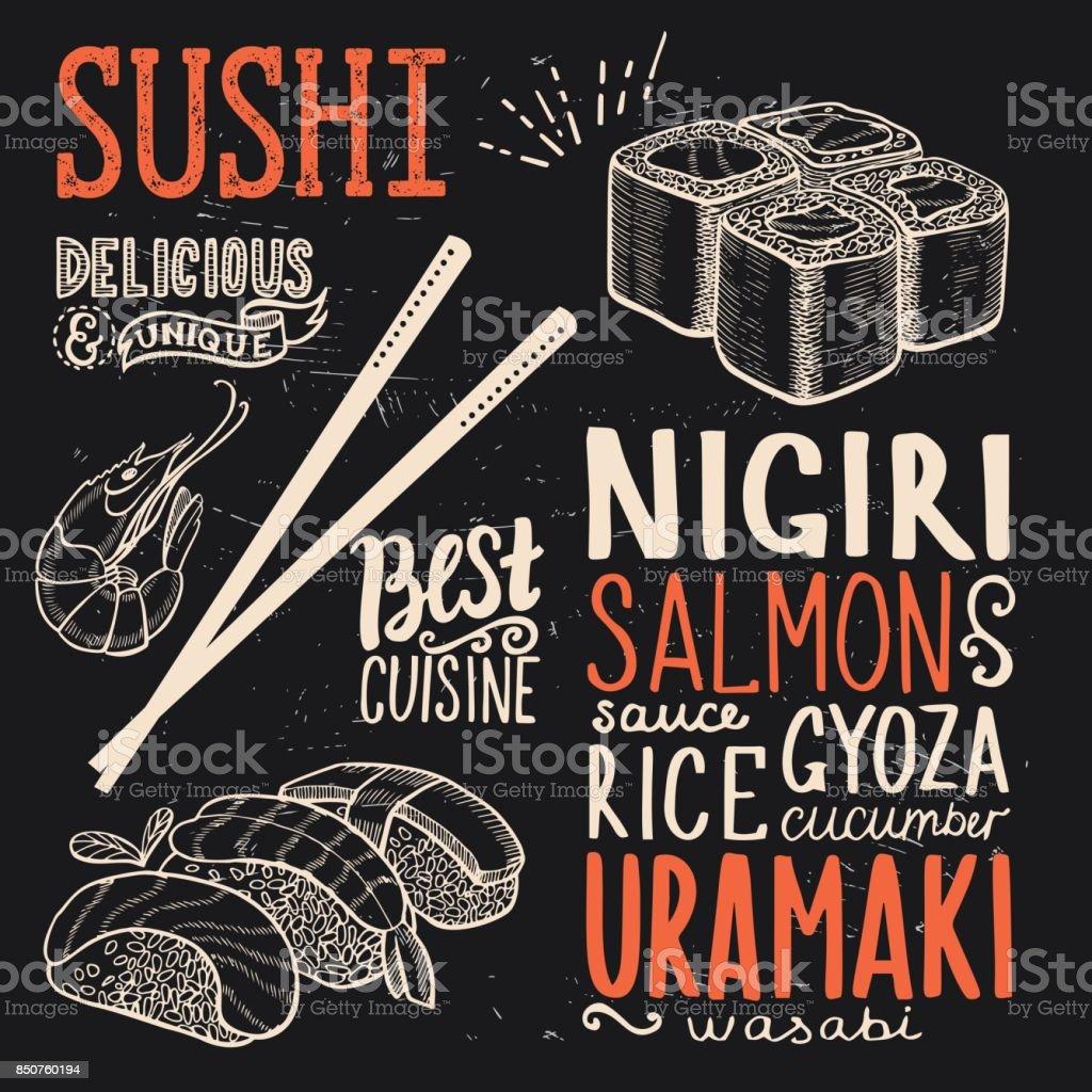 Cartel de sushi de restaurante. - ilustración de arte vectorial
