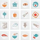 Sushi Restaurant Icon Set Blue Orange