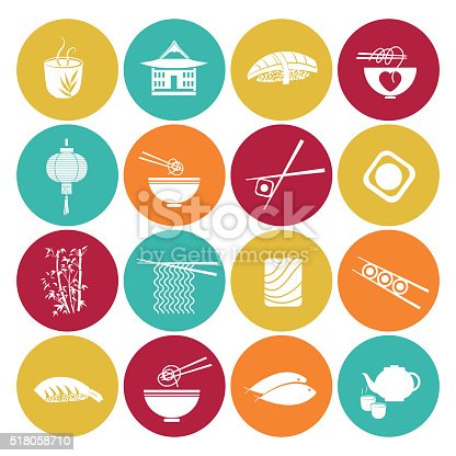 Sushi Restaurant Icon Set On a flat color round base. There is an assortment or sushi and Asian restaurant symbols.