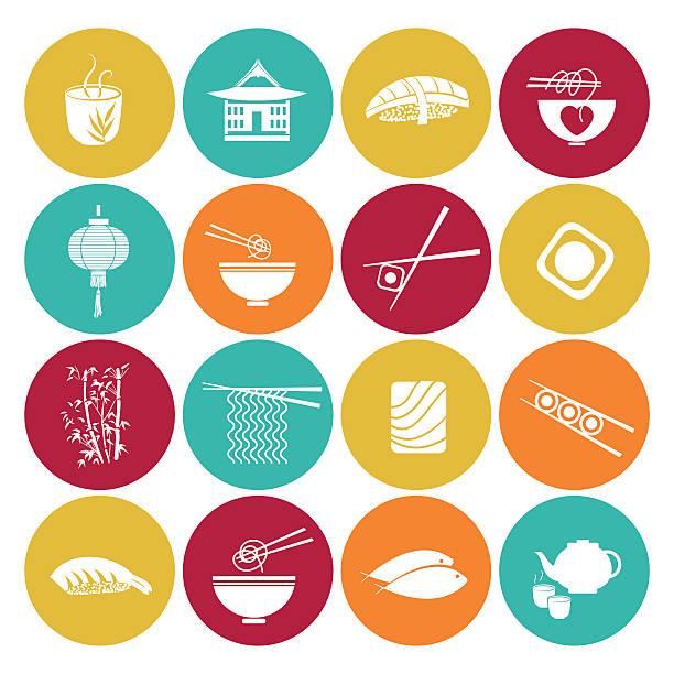 sushi restaurant icon set - thai food stock illustrations, clip art, cartoons, & icons