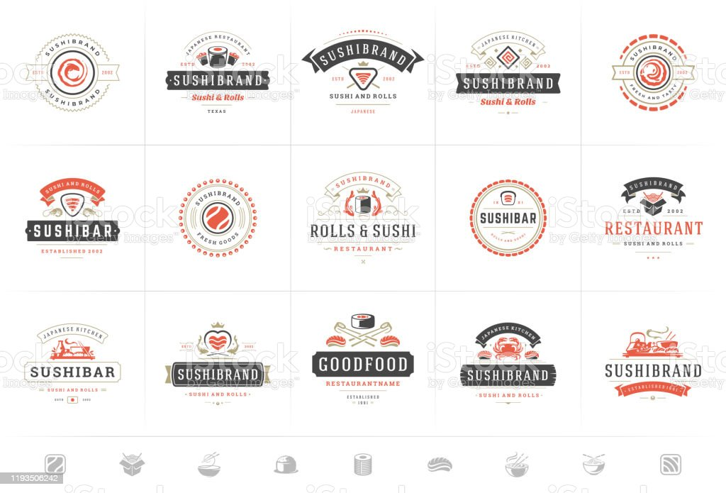 Sushi Restaurant Logos And Badges Set Japanese Food With Sushi Salmon Rolls Silhouettes Vector Illustration Stock Illustration Download Image Now Istock