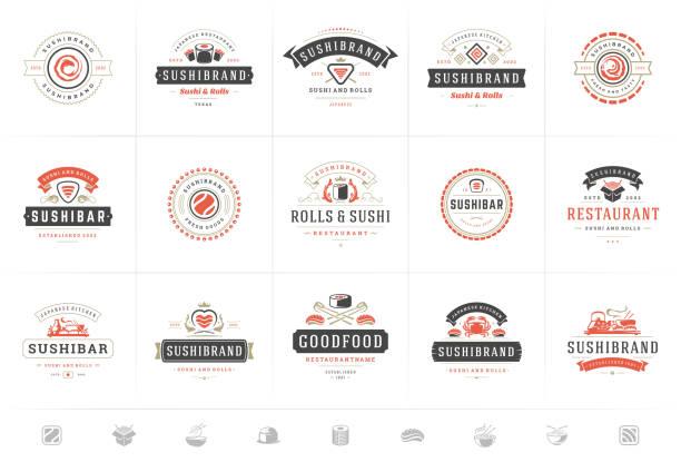 logo restauracji sushi i odznaki ustawić japońskie jedzenie z sushi łososia rolki sylwetki ilustracji wektorowej - insygnia stock illustrations