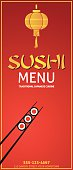 Sushi Restaurant Menu Template Or Background With Paper Lantern And Chopsticks