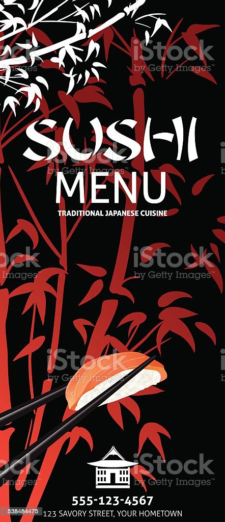 Sushi Restaurant Menu Template Or Background With Bamboo vector art illustration