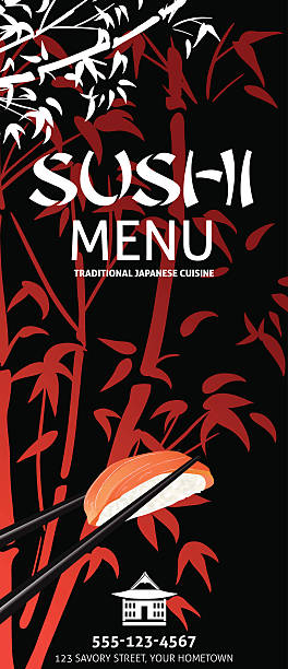 sushi restaurant menu template or background with bamboo - junk food stock illustrations, clip art, cartoons, & icons