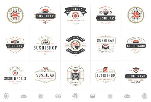 Sushi restaurant symbols and badges set japanese food with sushi salmon rolls silhouettes vector illustration