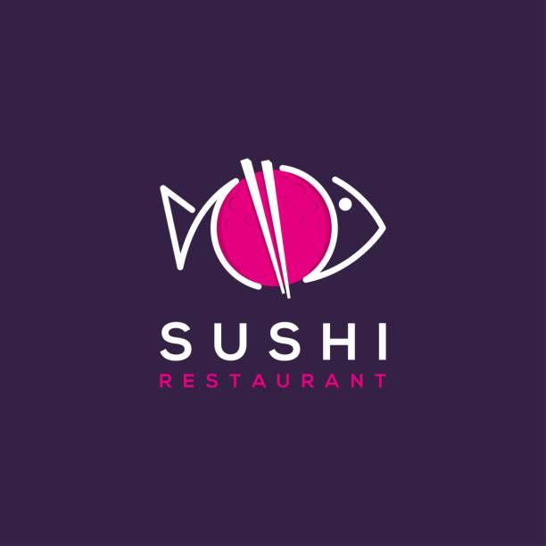 sushi restaurant vector logo template - sushi stock illustrations