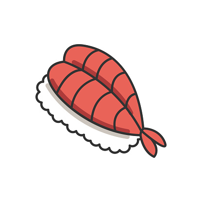 Sushi RGB color icon. Fresh seafood. Sashimi meal. Fish on rice. Traditional japanese cuisine. Asian delicacy. Prawn dish. Appetizer before meal. Isolated vector illustration
