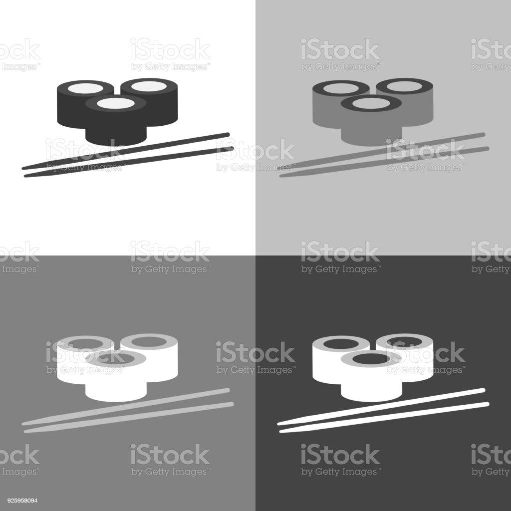 Sushi Rolle Und Essstäbchen Set Vektor Illustration. Sushi Asiatische Küche.  Vektor