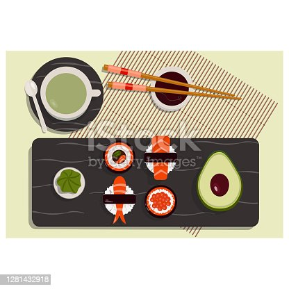 istock sushi roll and say sause 1281432918