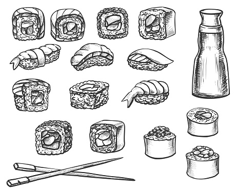 Sushi Roll Doodle Set