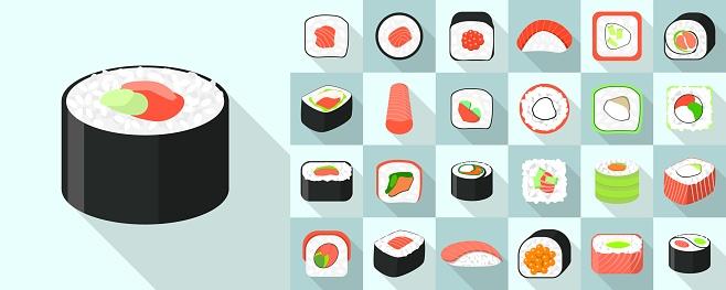 Sushi roll icons set, flat style