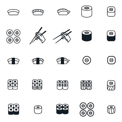 Sushi Roll Japanese Food Chopsticks Minimal Flat Line Icon Set Collection