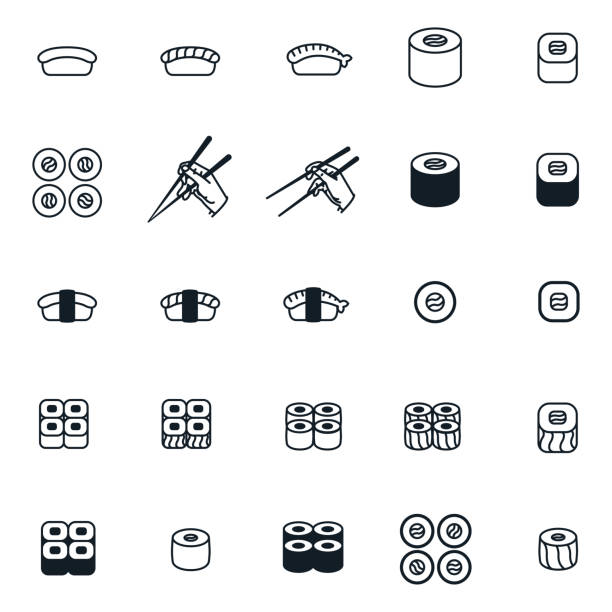 sushi roll japanese food chopsticks minimal flat line icon set collection - sushi stock illustrations