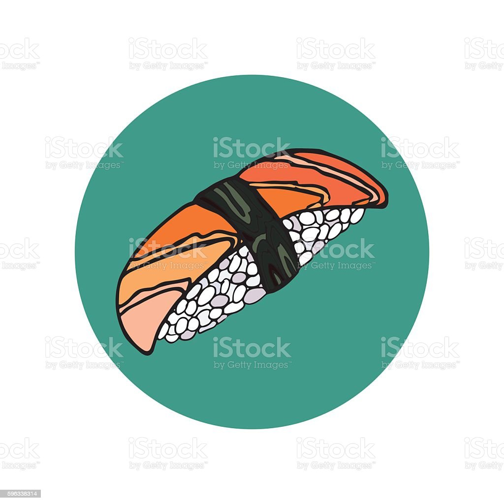 Sushi roll. Japanese food. Hand drawn vector illustration royalty-free sushi roll japanese food hand drawn vector illustration stock vector art & more images of asia