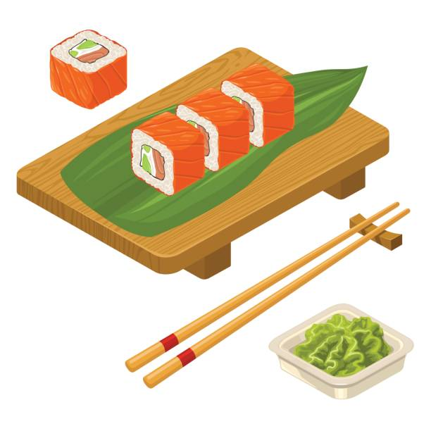 Sushi roll Philadelphia with wasabi, cream cheese, chopsticks, wood board. Sushi roll Philadelphia with fish, caviar, cream cheese, avocado, chopsticks, wasabi in bowl and wood serving board. Isolated on white background. Vector flat color illustration. For icon and menu serving dish stock illustrations