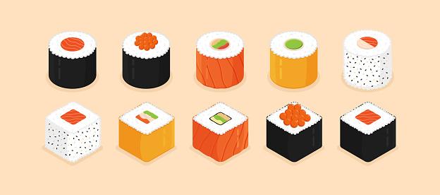 Sushi roll set. Isometric sushi icons on apricot background. Traditional japanese food. Flat style vector illustration.