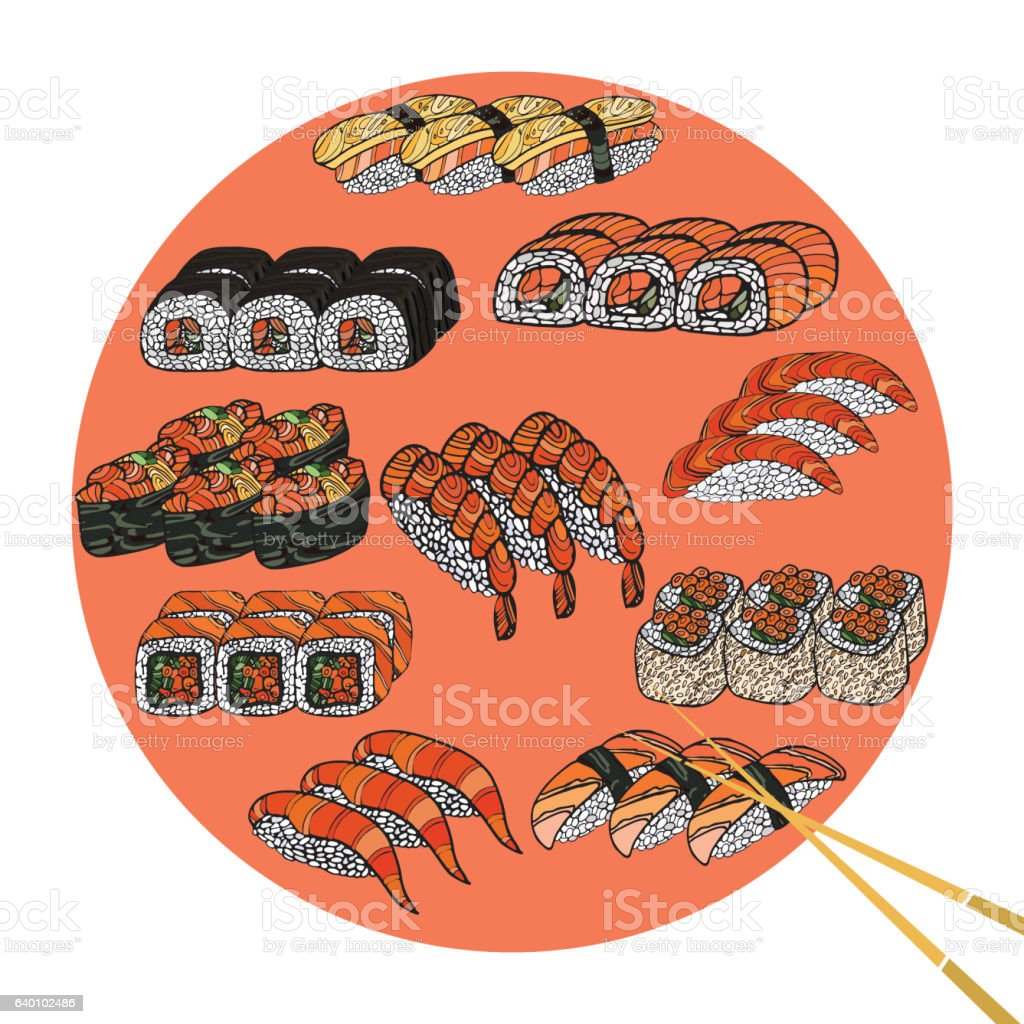 Ilustracion De Rollo De Sushi Y Palillos Chinos Juego Comida