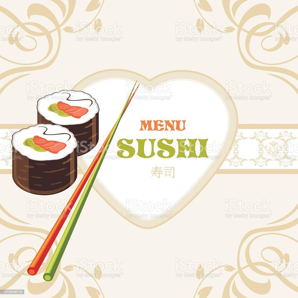Sushi rolls and chopsticks. Label for menu design royalty-free sushi rolls and chopsticks label for menu design stock vector art & more images of chopsticks