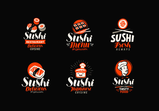 sushi, rolls, japanese food set. vector illustration - sushi stock illustrations