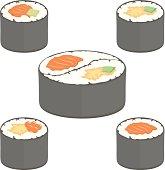 Sushi rolls vector  set