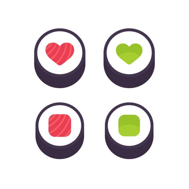 illustrations, cliparts, dessins animés et icônes de rouleaux de sushi avec la forme de coeur - sushi