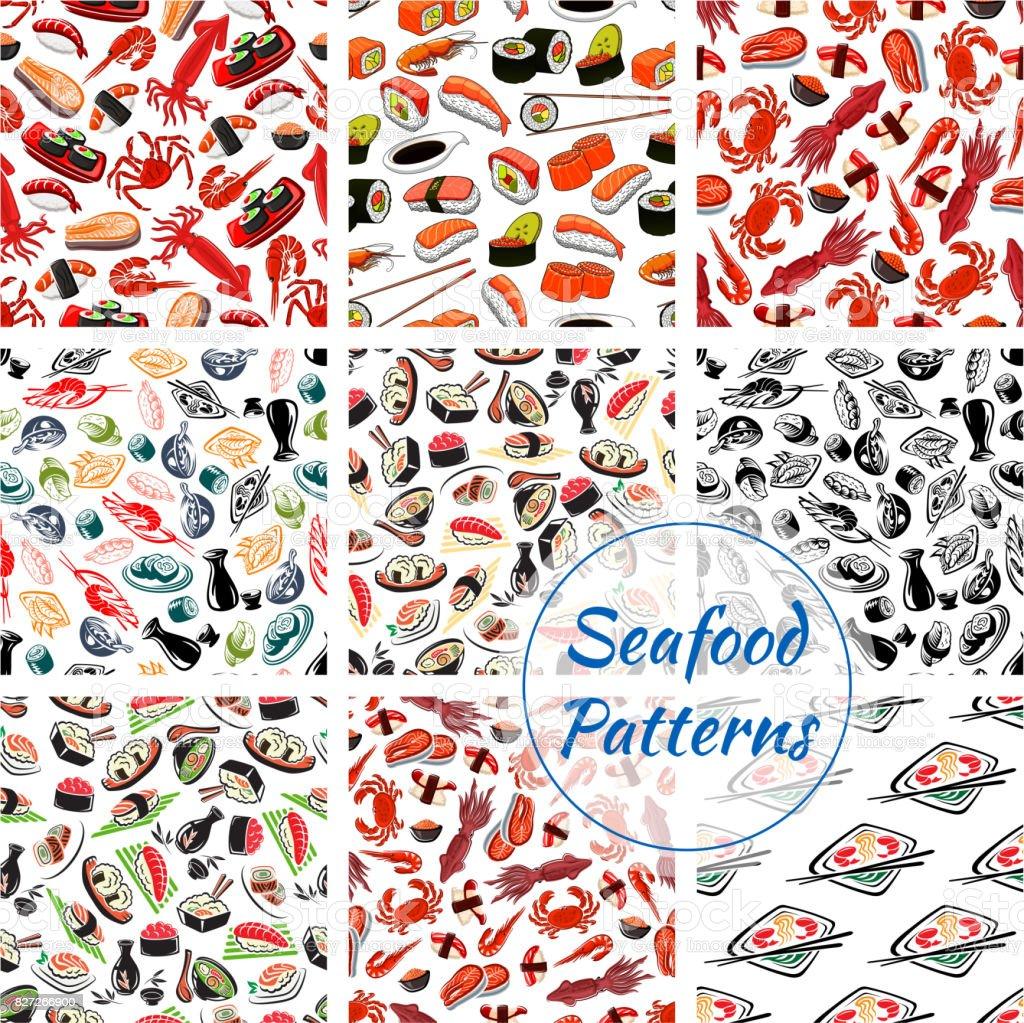 寿司刺身や魚介類のシームレス パターン ベクターアートイラスト