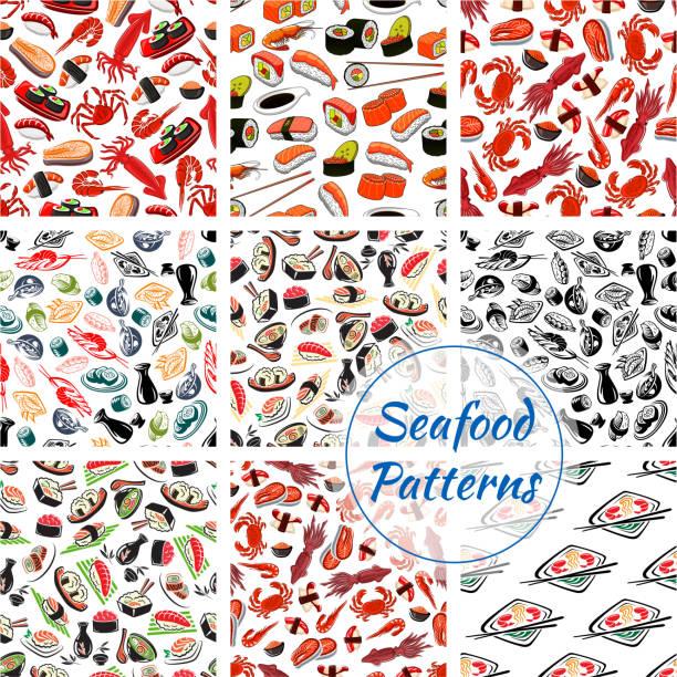 寿司刺身や魚介類のシームレス パターン - 魚介類点のイラスト素材/クリップアート素材/マンガ素材/アイコン素材