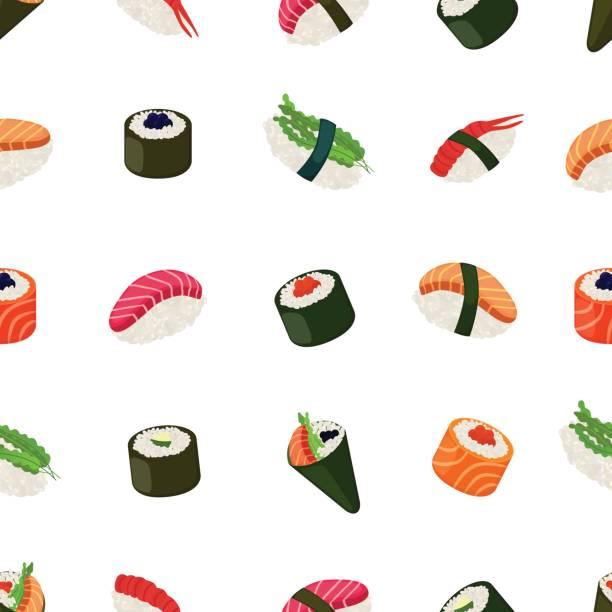ilustrações, clipart, desenhos animados e ícones de padrão sem emenda de sushi - comida asiática com peixe, arroz, algas marinhas, caviar - sushi