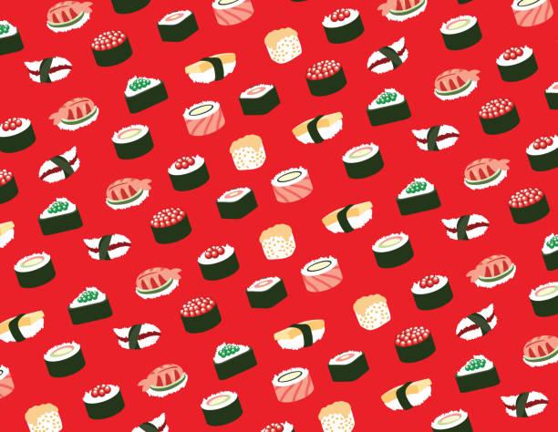 寿司シームレスなパターン - 寿司点のイラスト素材/クリップアート素材/マンガ素材/アイコン素材