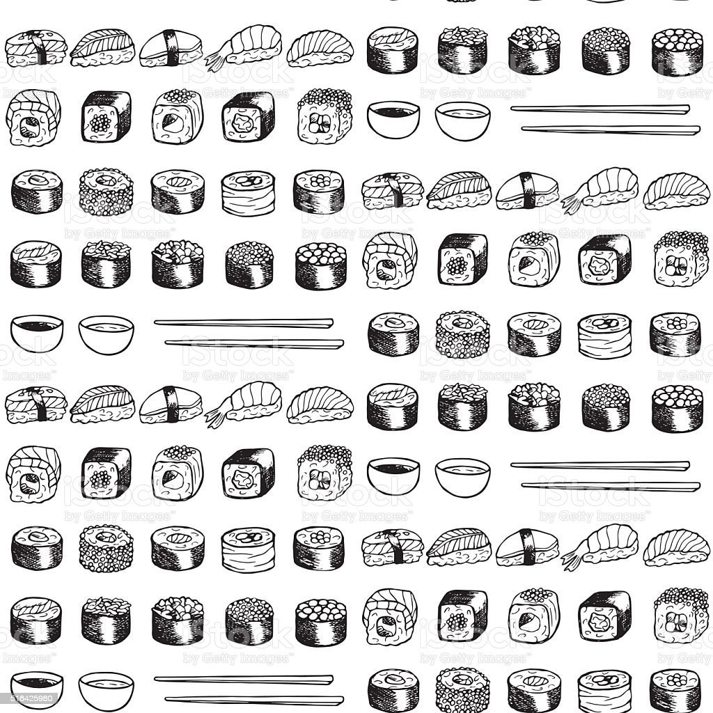 Patrón sin costuras de Sushi - ilustración de arte vectorial