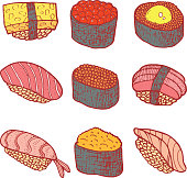 Sushi set collection. Coloring page for adult book. Vector doodl