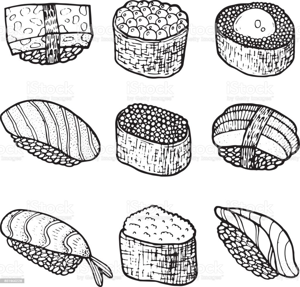 Sushi Set Collection Coloring Page For Adult Book Vector ...