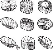 Sushi set collection. Coloring page for adult book. Vector doodle graphic hand drawn art.