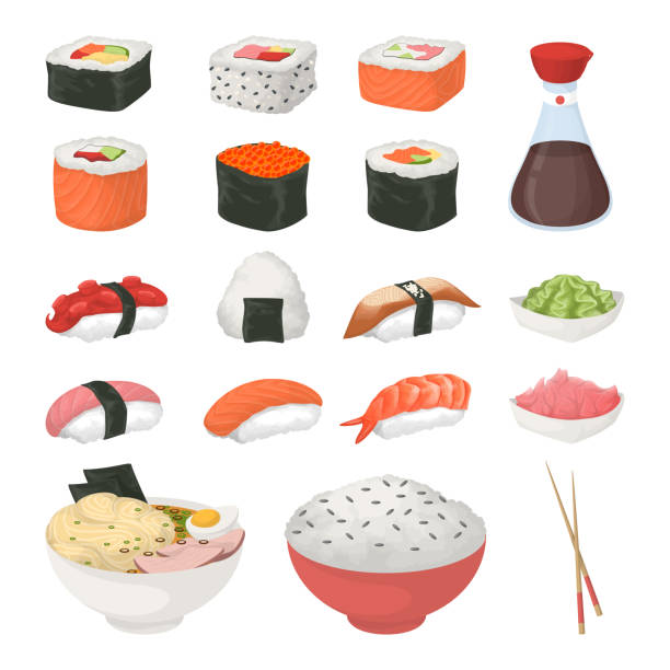寿司の白い背景の上にセットします。 - わさび点のイラスト素材/クリップアート素材/マンガ素材/アイコン素材
