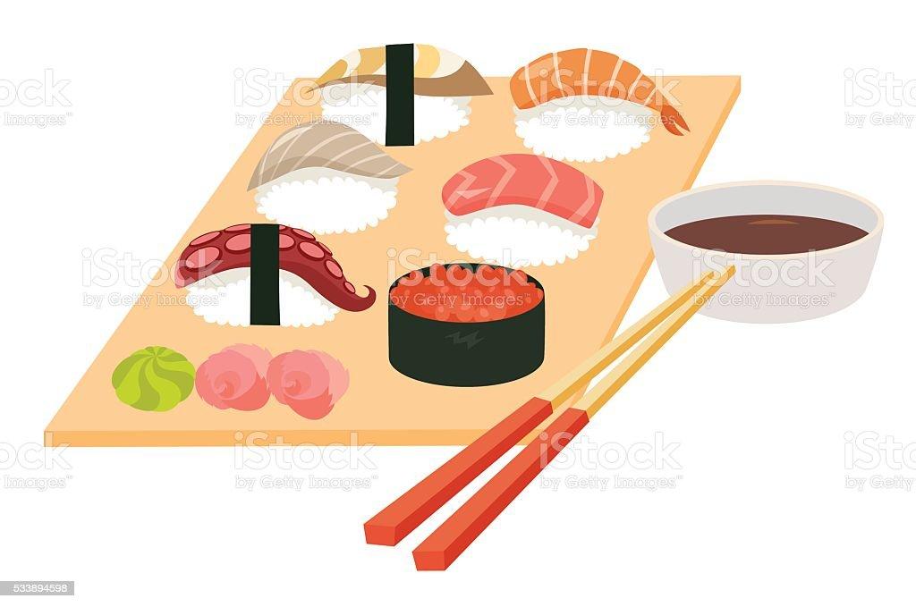 寿司セットベクトルエビ寿司タコサーモンの魚の寿司 えび握りの