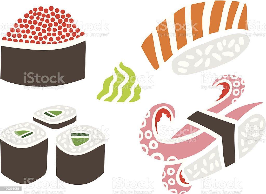 Sushi Set with Wasabi royalty-free stock vector art