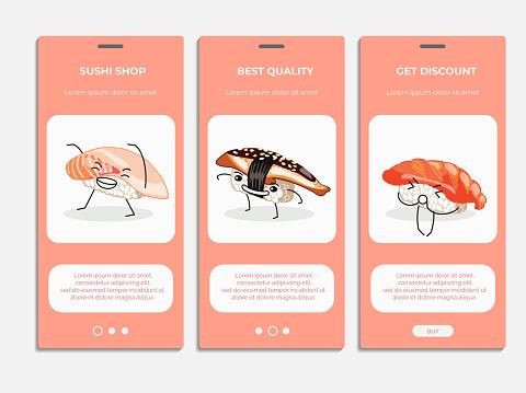 Sushi shop onboard screens set. flat vector illustration
