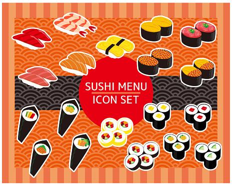 Sushi slice icon stock, tuna, shrimp, thick rolled sushi
