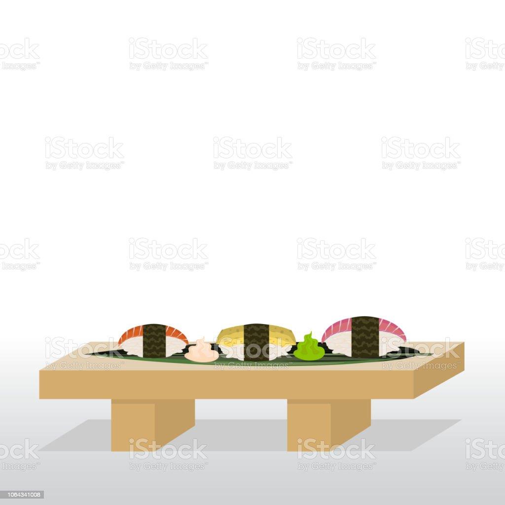 にぎりサーモンのツナとたまごの寿司屋台 おかず系のベクターアート