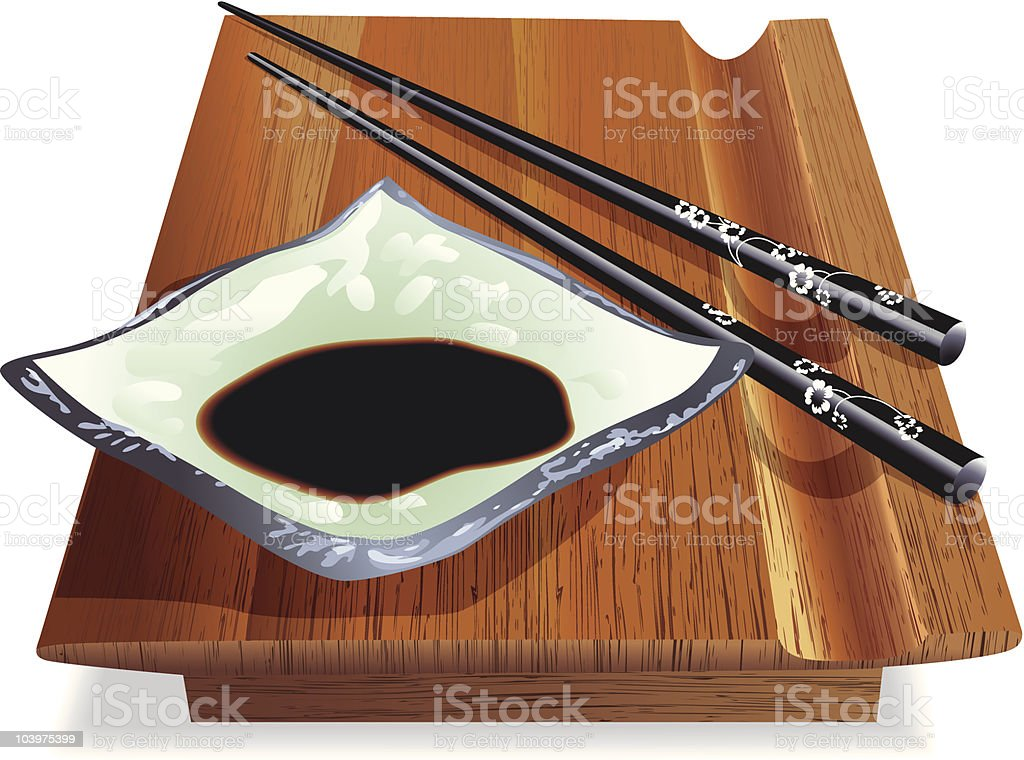 Sushi Tray with chop sticks vector art illustration