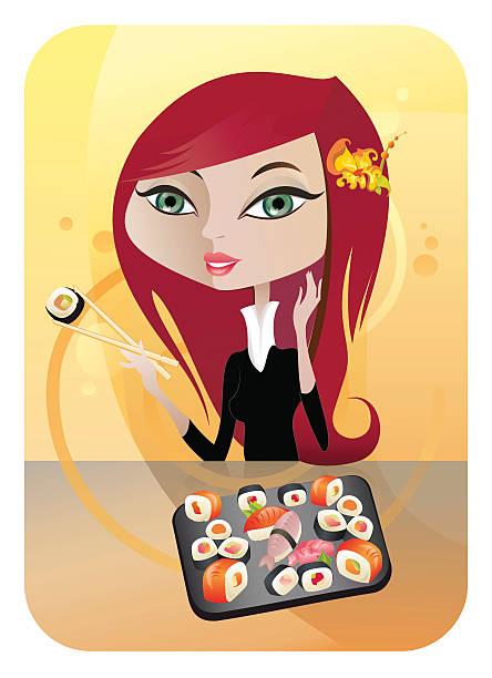 ilustrações de stock, clip art, desenhos animados e ícones de sushi - woman eating salmon