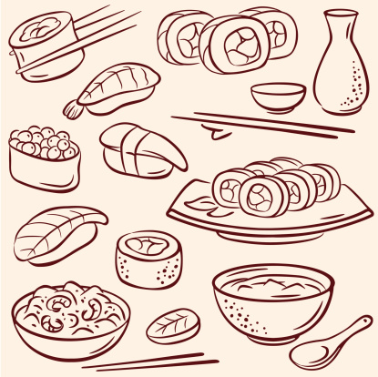 Sushi, pencil drawing illustration
